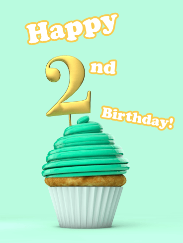 Mint Cupcake- Happy 2nd Birthday Card