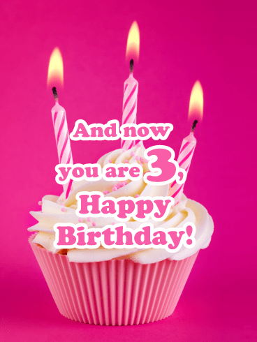 Pink Cupcake- Happy 3rd Birthday Card
