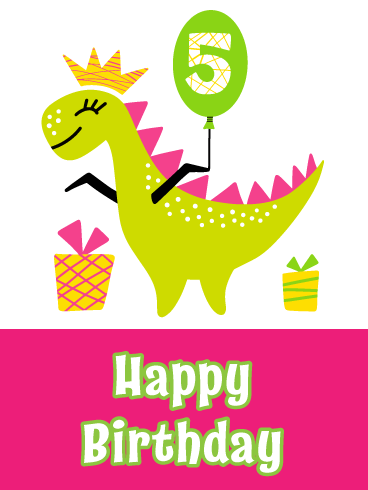 Happy Dinosaur- Birthday Card for age 5