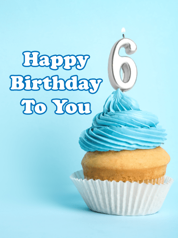Blue Cupcake- Happy 6th Birthday Card