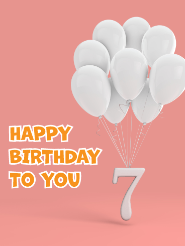 White Balloons- Happy 7th Birthday Card