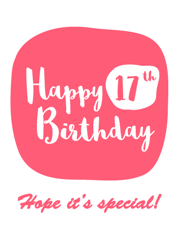 Special Time- Happy 17th Birthday Card