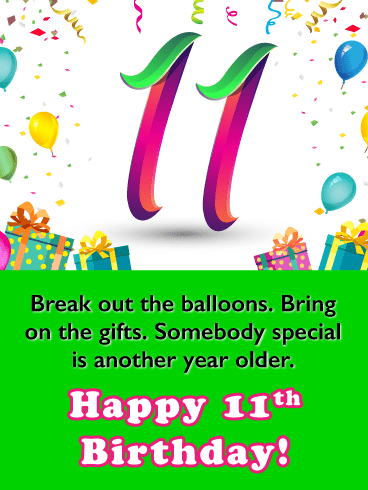 Celebrating 11th Birthday Card