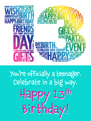 Colorful 13th Birthday Card