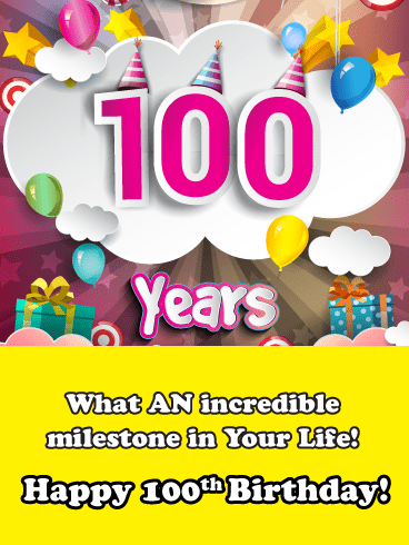 Long Life Celebration 100th Birthday Card