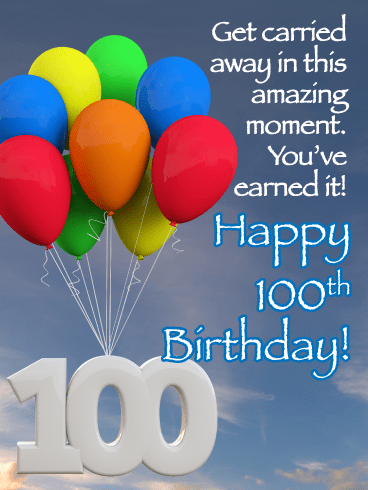 Colorful Balloons 100th Birthday Card
