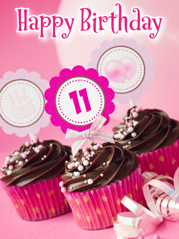 Pretty Cupcakes – Happy 11th Birthday Card