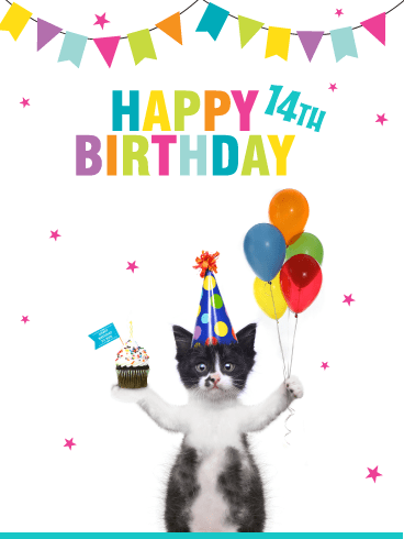 Kitten Celebrating – Happy 14th Birthday Card