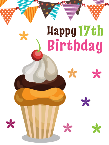 Cupcake & Streamers – Happy 17th Birthday Card