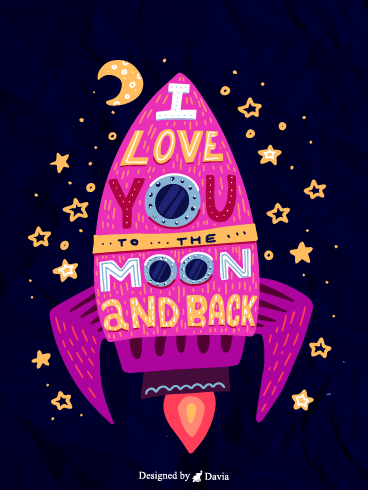 To The Moon  – I Love You Cards