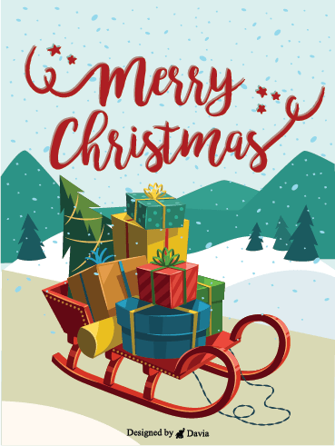 Gifts On A Sleigh – Christmas Cards