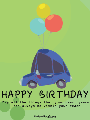 Blue Car and Balloons - Happy Birthday To Him Cards