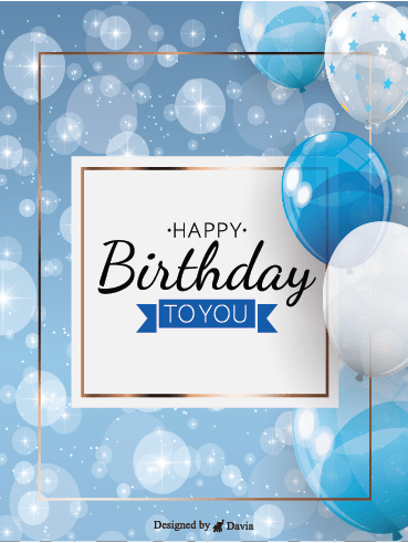 Blue theme - Happy Birthday To Him Cards