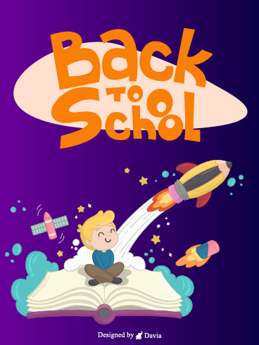 Rocket Pencil and Book – Back to School Cards