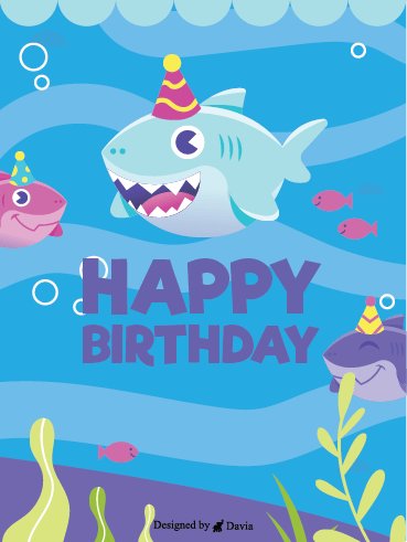 Shark Birthday – Happy Birthday Newly Added Cards