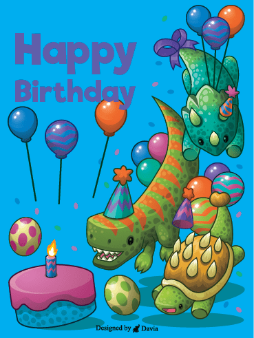Dino Birthday Party – Happy Birthday Newly Added Cards