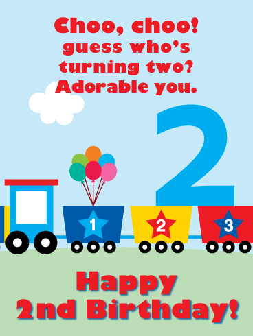 Toy Train Doodle – Happy 2nd Birthday Card