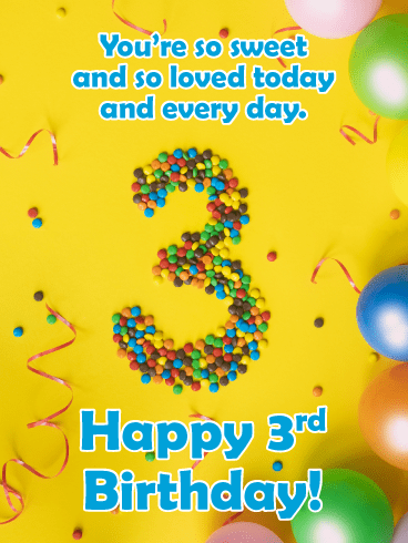 Candy Pieces – Happy 3rd Birthday Card
