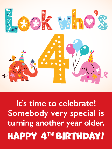 Cute Elephants – Happy 4th Birthday Card