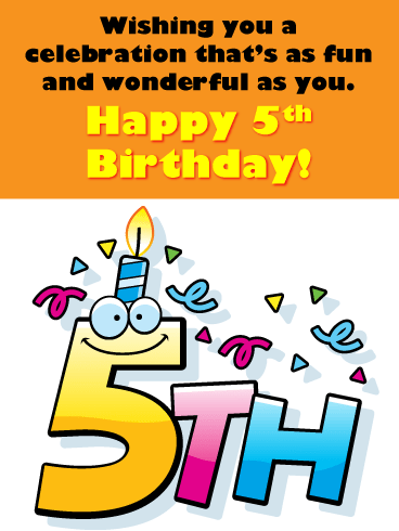 Smiling Candle On Top – Happy 5th Birthday Card