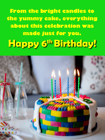 Colorful Cake – Happy 6th Birthday Card