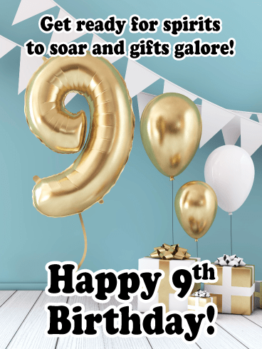 Gold Balloons – Happy 11th Birthday Card