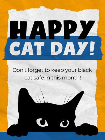Black Feline –  National Cat Day Cards