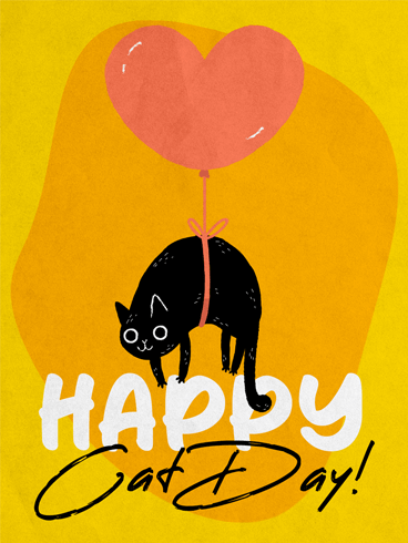 Floating Cat –  National Cat Day Cards