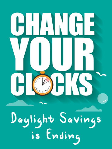 An Extra Yawn – DAYLIGHT SAVINGS TIME ENDS CARDS