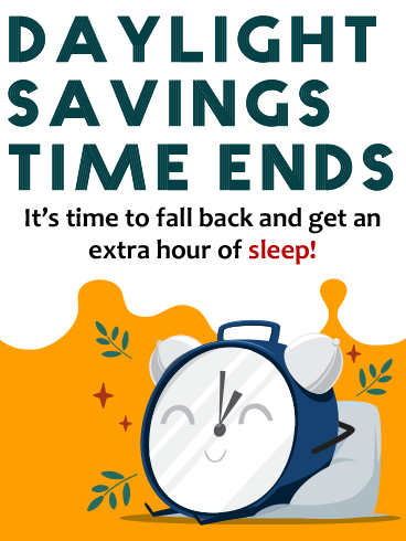 Comfy Clock – DAYLIGHT SAVINGS TIME ENDS CARDS