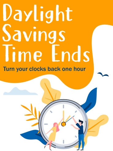 Fall Clock – DAYLIGHT SAVINGS TIME ENDS CARDS