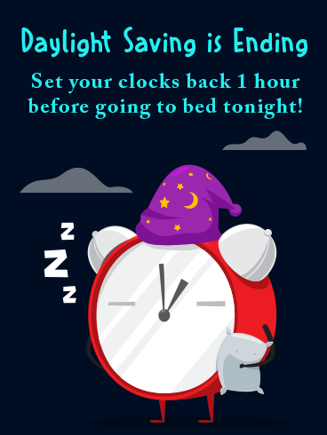 Sleepy Clock – DAYLIGHT SAVINGS TIME ENDS CARDS