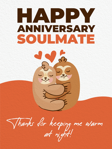 Hugging Sloths –  Happy Anniversary Cards