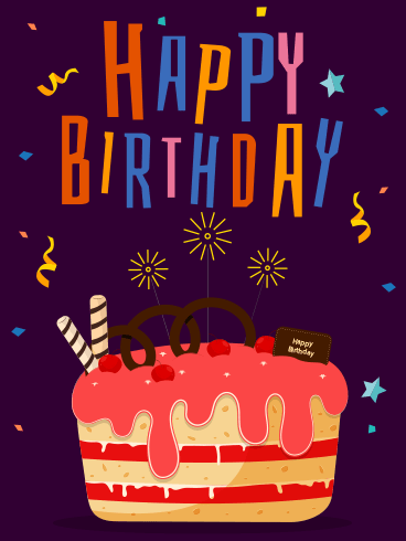 Fireworks On Cake – Happy Birthday Newly Added Cards