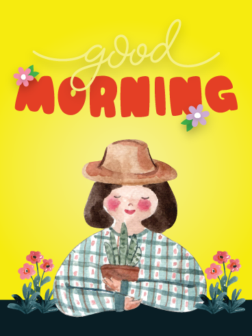 Happy Lady & Flower – Good Morning Cards