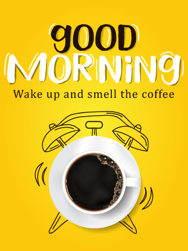Clock & Coffee – Good Morning Cards