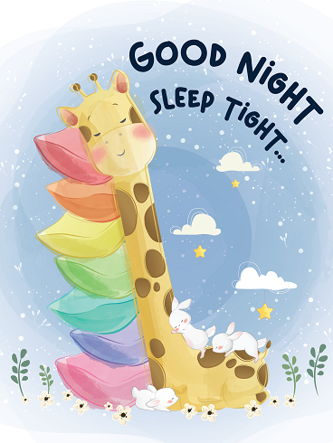 Giraffe & Pillow – Good Night Cards