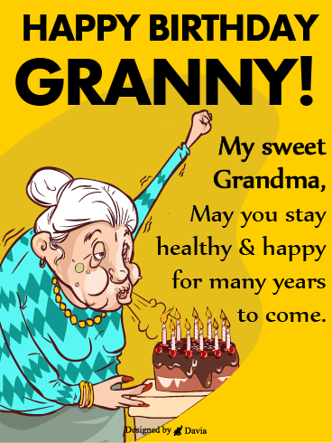 Grandma Blows The Candles – Happy Birthday Grandmother Cards