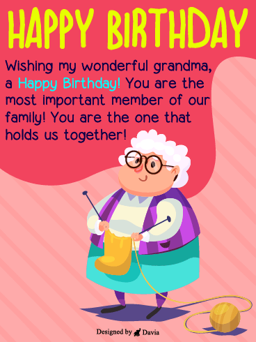 Wonderful Grandma – Happy Birthday Grandmother Cards