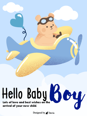 Bear On Plane – Baby Cards