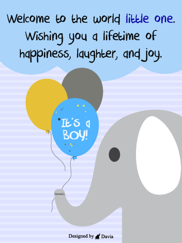 Elephant & Balloons – Baby Cards