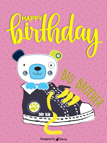 Bear In A Shoe – Happy Birthday Brother Cards