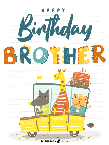 Animals In A Car – Happy Birthday Brother Cards
