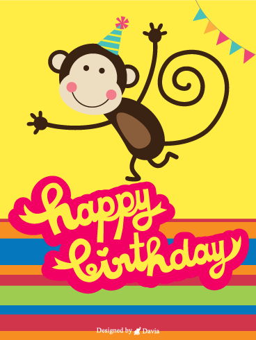 Cute Monkey – Newly Added Birthday Cards
