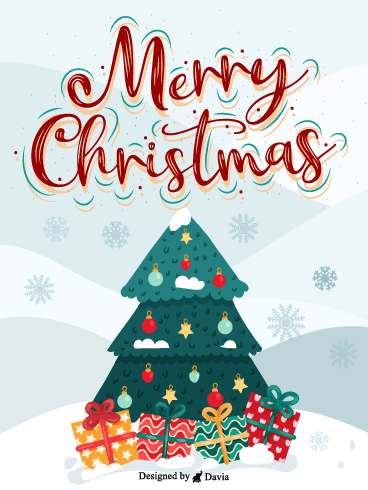 Colorful Tree & Gifts – Christmas Cards