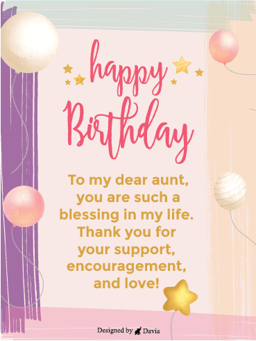 Starry Birthday – Happy Birthday Aunt Cards