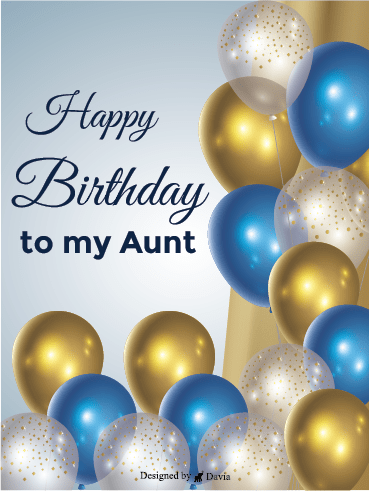 Gold & Blue – Happy Birthday Aunt Cards