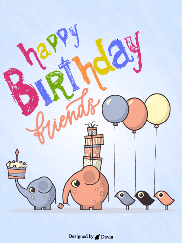 Elephants & Birds – Happy Birthday Friend Cards