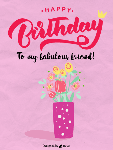 Flowers & Crown – Happy Birthday Friend Cards