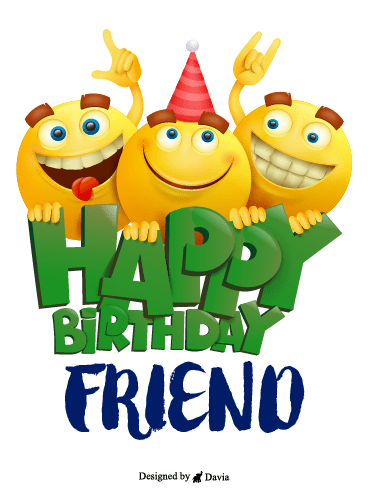 Emojis Party – Happy Birthday Friend Cards